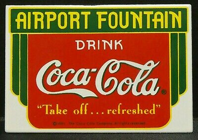 "Dollhouse Miniatures Metal Sign Advertising Airport COCA COLA 2 1/4"" x 1 1/2"""