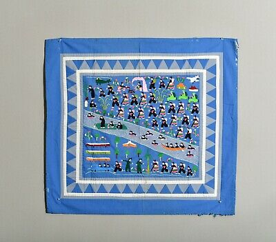 Antique Vintage Chinese Blue Hmong Refugees Persecution Embroidery Laos War