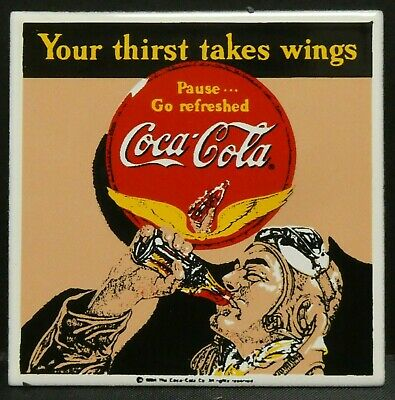 "Dollhouse Miniatures Metal Sign Advertising Racer Wings COCA COLA 2"" x 2"""