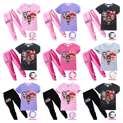 Hot Kids Girls Lol Surprise Dolls Short Sleeve Casual T-shirts Top+Trousers Sets