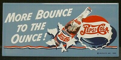 "Dollhouse Miniatures Metal Sign Advertising Bounce PEPSI COLA 3 1/4"" x 1 1/2"""