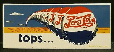"Dollhouse Miniatures Metal Sign Advertising Tops PEPSI COLA 3"" x 1 1/4"""