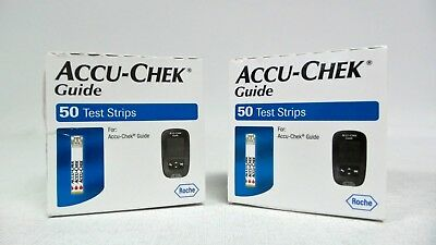 100 Accu-Chek Guide Test Strips for Diabetic Glucose Exp 2020 Free Shipping