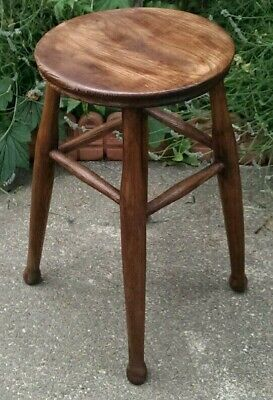 Antique Victorian Solid Country Elm Stool 55 cms Tall
