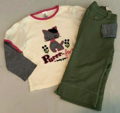 Baby Gap EUC 3pc outfit LS cat top/shirt green and blue pants size 12-18 months