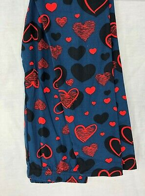 Kids Valentines Day Leggings Black and Red Hearts Size S/M