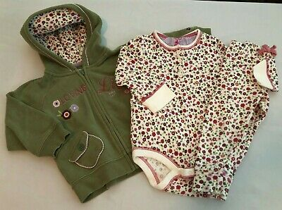 Baby Gap EUC 3pc outfit jacket and floral printed bodysuit/leggings size 18-24