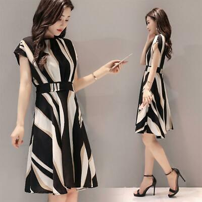 Elegant Stripe Print Dress Women O-neck Short Sleeve Tunic A-line Dresses M-3XL