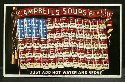 "Dollhouse Miniatures Metal Sign Advertising US Flag CAMPBELL'S SOUPS 3 1/4"" x 2"""