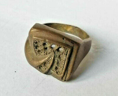 Ancient Roman-Byzantine Decorated Bronze Ring--Detector Find