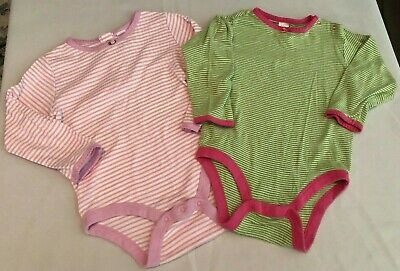 Baby Gap EUC 2pc LS green and purple striped bodysuits size 12-18/18-24 months