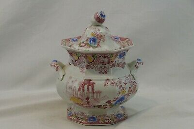 Cleopatra Francis Morley Sugar Bowl Pink Egyptian Temple Antique 19th Century