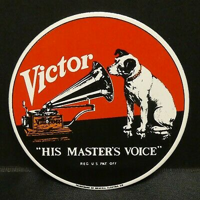 Dollhouse Miniatures Metal Sign Advertising RCA VICTOR MASTER'S VOICE 2 1/4""