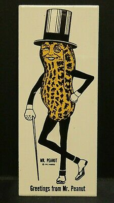 """Dollhouse Miniatures Metal Sign Advertising GREETINGS FROM MR PEANUT 1 1/4"""" x 3"""""""