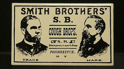 "Dollhouse Miniatures Metal Sign Advertising SMITH BROTHERS DROPS 2 1/4"" x 1 3/4"""