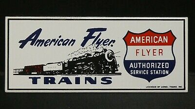 "Dollhouse Miniatures Metal Sign Advertising AMERICAN FLYER TRAINS 3"" x 1 1/4"""