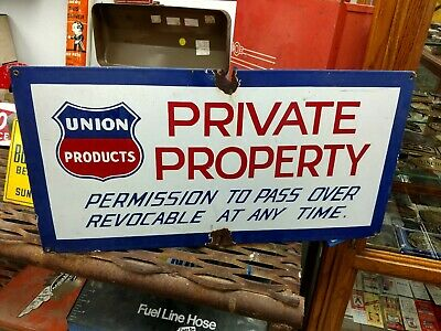 Rare Union Products Porcelain Oil Well Lease Sign Union 76 Unocal