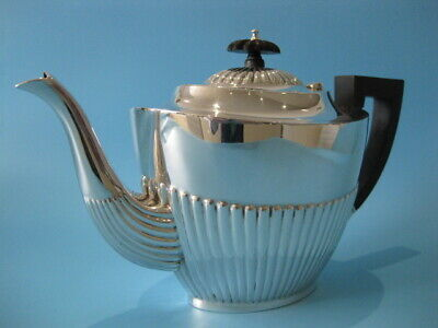 Very Beautiful Large Antique Silver Plated Regency Style Half Panel Tea Pot