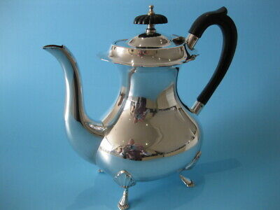 Extremely Nice Antique Silver Plated Regency Style Footed Hot Chocolate Pot