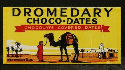 "Dollhouse Miniatures Metal Sign Advertising DROMEDARY CHOCO DATES 2 3/4"" x1 1/4"""