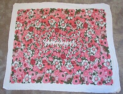 """vintage floral tablecloth rectangle pink flowers 59"""" x 50"""" NO STAINS"""