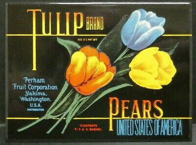 "Dollhouse Miniatures Metal Sign Advertising TULIP BRAND PEARS 3 1/4"" x 2 3/8"""