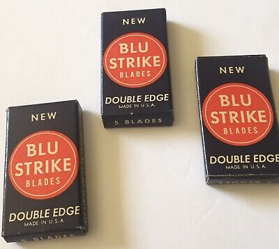 3 Mint Boxes Vintage Collectible NOS BLU STRIKE Razor Blades 50s.   6B