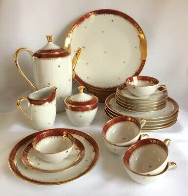 Rare Vintage French Porcelain Limoges 22 piece Gold Gilded Coffee Set Burgundy