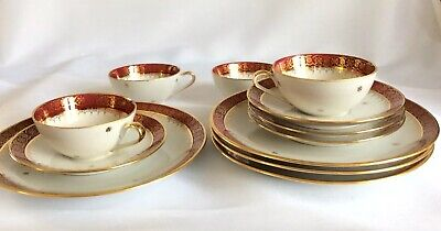 Vintage French Porcelain Limoges 12 piece Gold Gilded Coffee Set Burgundy Rare