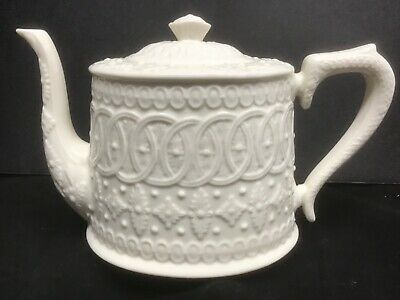 VINTAGE CREAMWARE CHINA TEAPOT ivory embossed china EXCELLENT