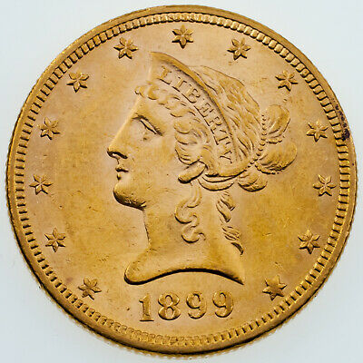1899 $10 Liberty Head Eagle in BU Condition! Great Early US Gold Coin!