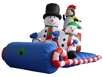 USED Christmas Inflatable Snowman Penguin Sleigh Sled LED Outdoor Art Decoration