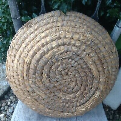 Early Primitive Large Rye Basket Very Thick Great Patina and Charm