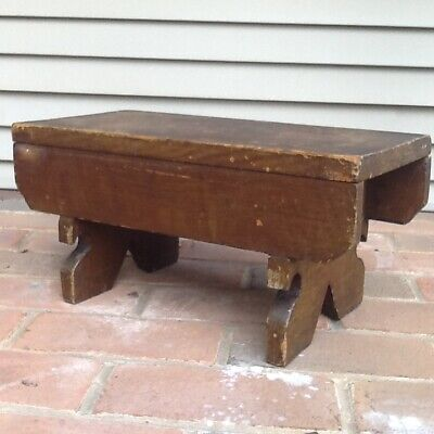 Early Primitive Wooden Stool Unusual Neat Cut Out Feet Old Potato Grain Paint
