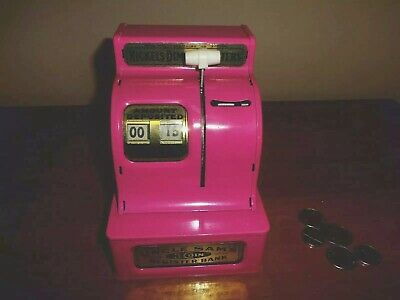 Vntg  Uncle Sam's Toy Cash Register Coin Bank Pink VGC Made in Japan WORKING!