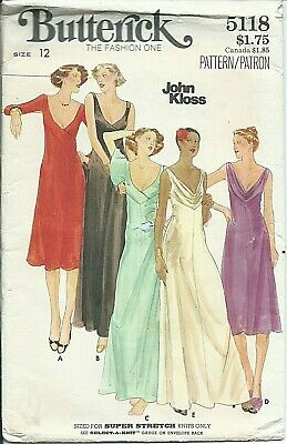 B 5118 sewing pattern 70's plunging V-neck GOWN Fab DRESS sew John Kloss size 12