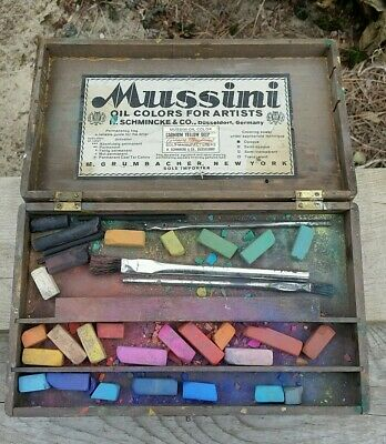 Wooden Schmincke Grumbacher Art Paint Box Artist Box Used Pastels