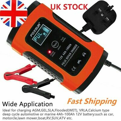 Car Battery Charger 12V 5A LCD Automobile Intelligent Motorcycle Pulse Repair UK