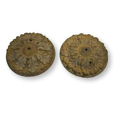 Pair of Antique French Carved Wood Ceiling Mounts