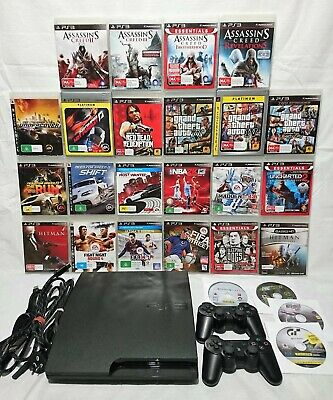 PS3 SLIM CONSOLE 320GB + 2 x DUAL SHOCK CONTROLLER + 26 AWESOME GAMES BUNDLE