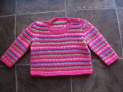 BN Girl's Hand Knitted Pink, Green & Blue Jumper Size 2