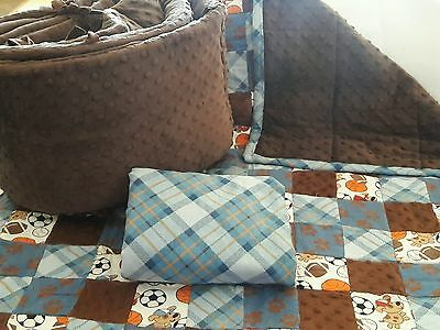 HANDMADE 3 PC Patchwork & Minky Crib Bedding Set Puppies & Sports Brown & Blue