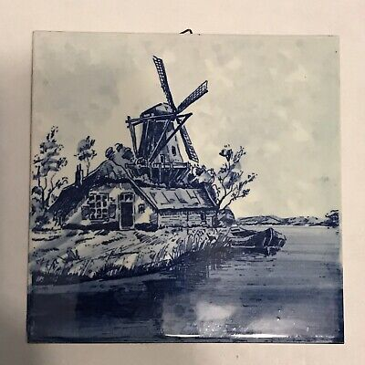 Beautiful BELGIUM Delft Windmill Tile Wall Art, Trivet Blue & White Square MINT!