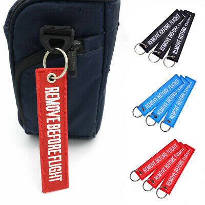 Unisex Remove Before Flight Car Motorcycle Keychain Embroidery Souvenir Clever