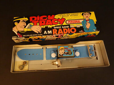 1975 Creative Creations Dick Tracy Personal Wrist Band Am Radio Mint In Box.