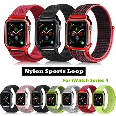 40/44mm Nylon Sport Loop Apple Watch Band Strap for iWatch Series 4 with PC Case