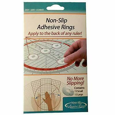 Ruler Grips 15 Per Pkg Silicone Non Slip Adhesive Gel Rings Quilting Patchwork