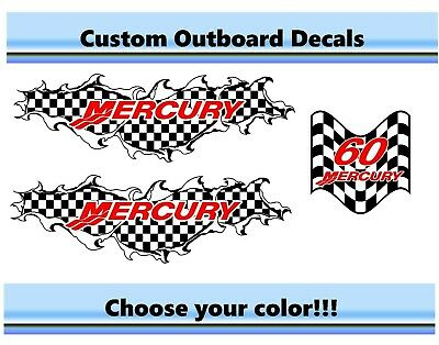 MERCURY 60HP Outboard Cowling Decal Kit CHECKERED REMIX RACING Pontoon Bigfoot