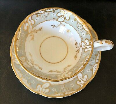 Davenport Longport Staffordshire Gray, Gold, Wide Tea Cup and Saucer