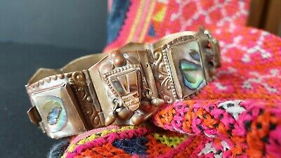 Old Mexican Silver Bracelet with Mother of Pearl Shell …beautiful collection & a